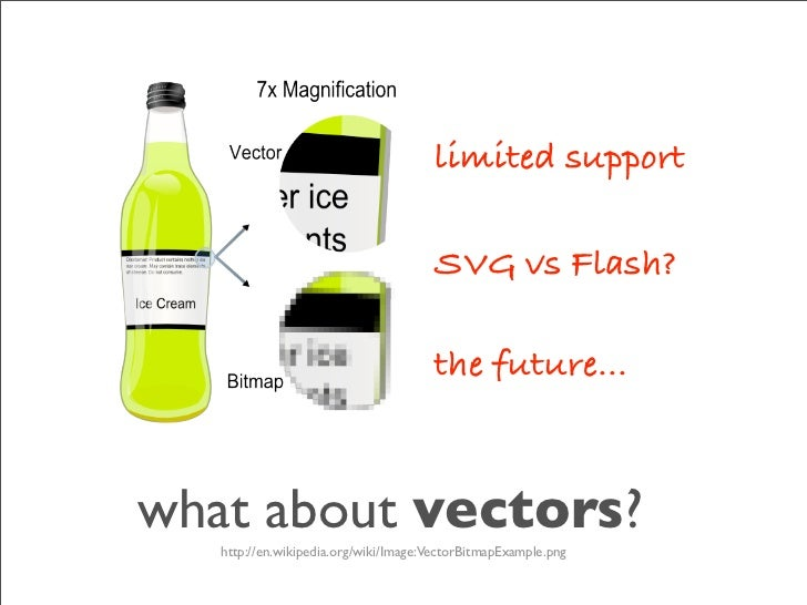 limited support                                        SVG vs Flash?                                        the future... ...