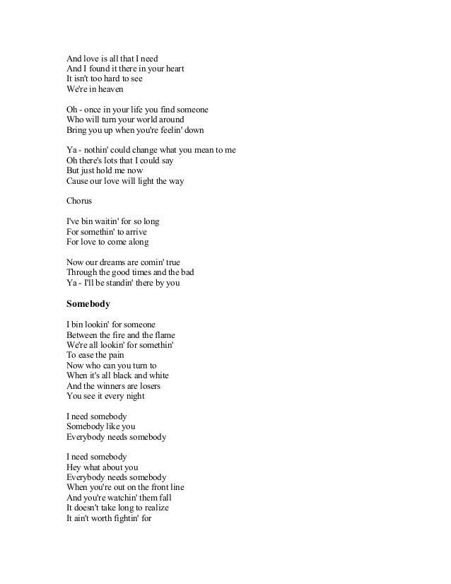To find somebody lyrics
