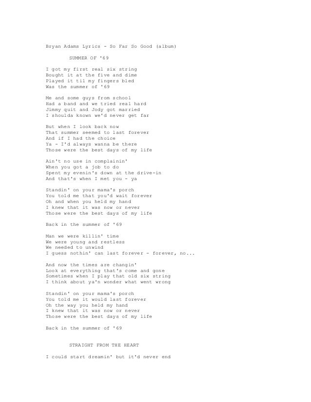 Songtext von Bryan Adams - On a Day Like Today Lyrics
