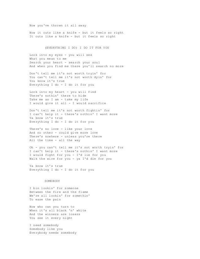 Lyric lyrics for a girl worth fighting for : BRAYAN ADAMS SONG LYRICS