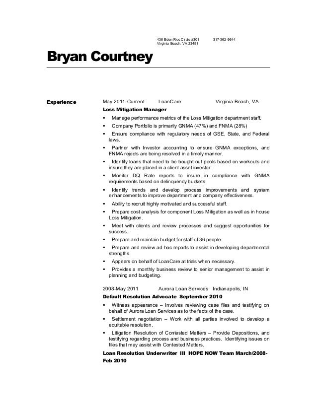 Loss Mitigation Resume