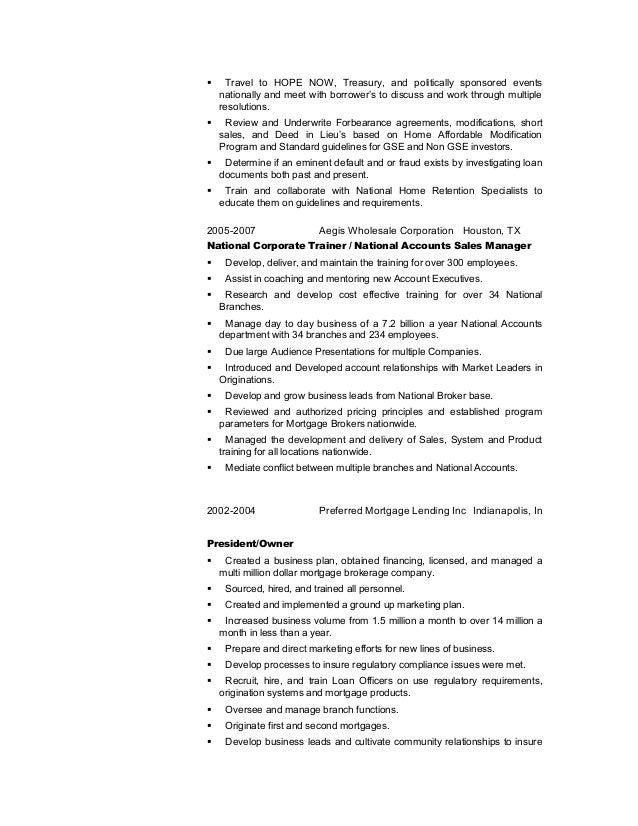 loss mitigation resume