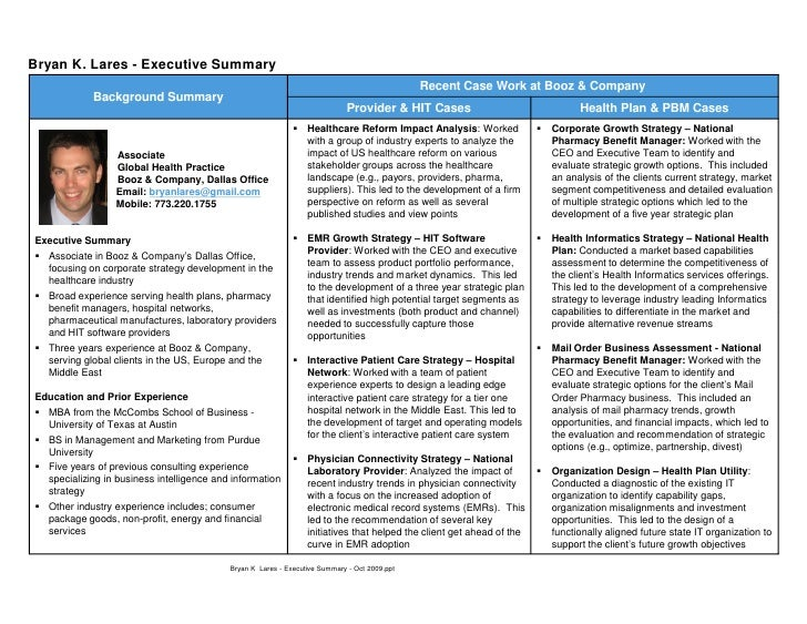 bryan k lares resume executive summary oct 2009