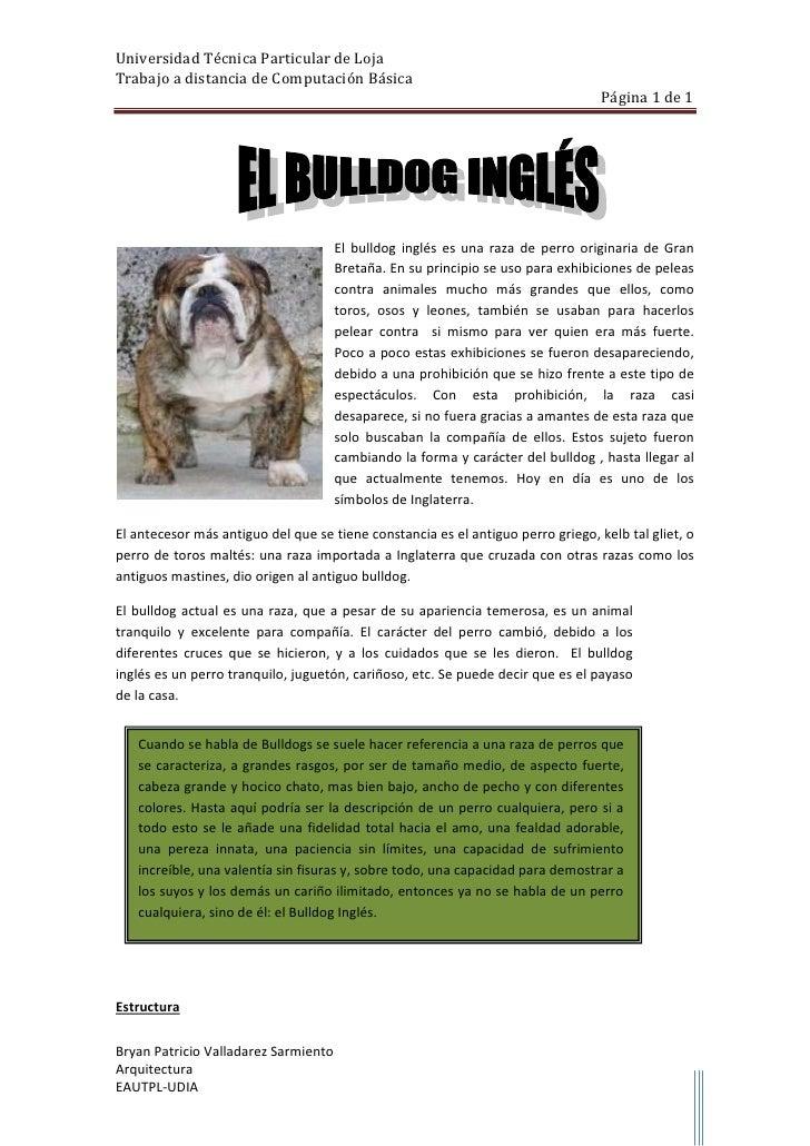 left1076960                           <br />El bulldog inglés es una raza de perro originaria de Gran Bretaña. En su princ...