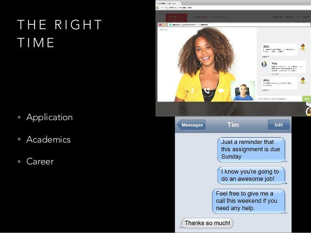 T H E R I G H T T I M E • Application • Academics • Career