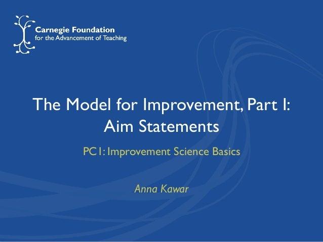 The Model for Improvement, Part I: Aim Statements PC1: Improvement Science Basics Anna Kawar