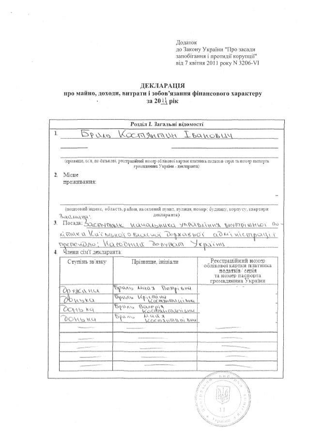 Декларация Константина Брыля за 2011 год