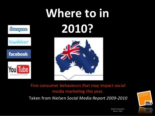 Where to in 2010? Five consumer behaviours that may impact social media marketing this year. Taken from Nielsen Social Med...