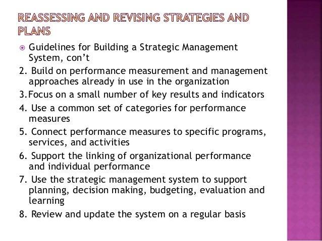 reassessing and revising strategic plans Strategic planning for public and nonprofit organizations by strategic planning for public and nonprofit reassessing and revising strategies and plans.