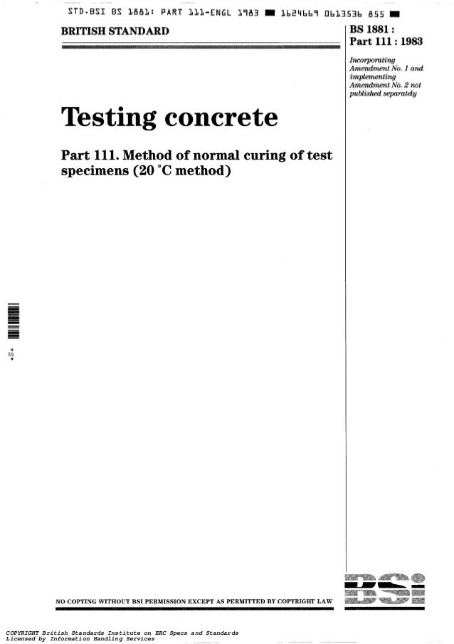 BS - Testing concrete. Methods for analysis of hardened concrete