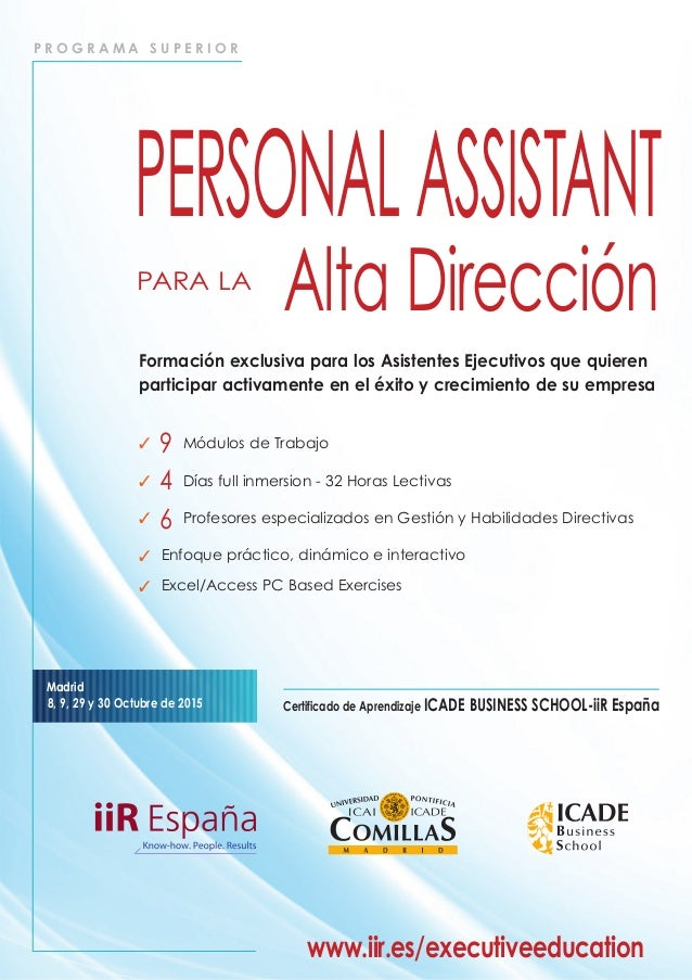 P R O G R A M A S U P E R I O R Certificado de Aprendizaje ICADE BUSINESS SCHOOL-iiR España Madrid 8, 9, 29 y 30 Octubre d...