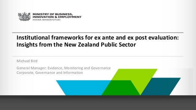 Institutional frameworks for ex ante and ex post ...
