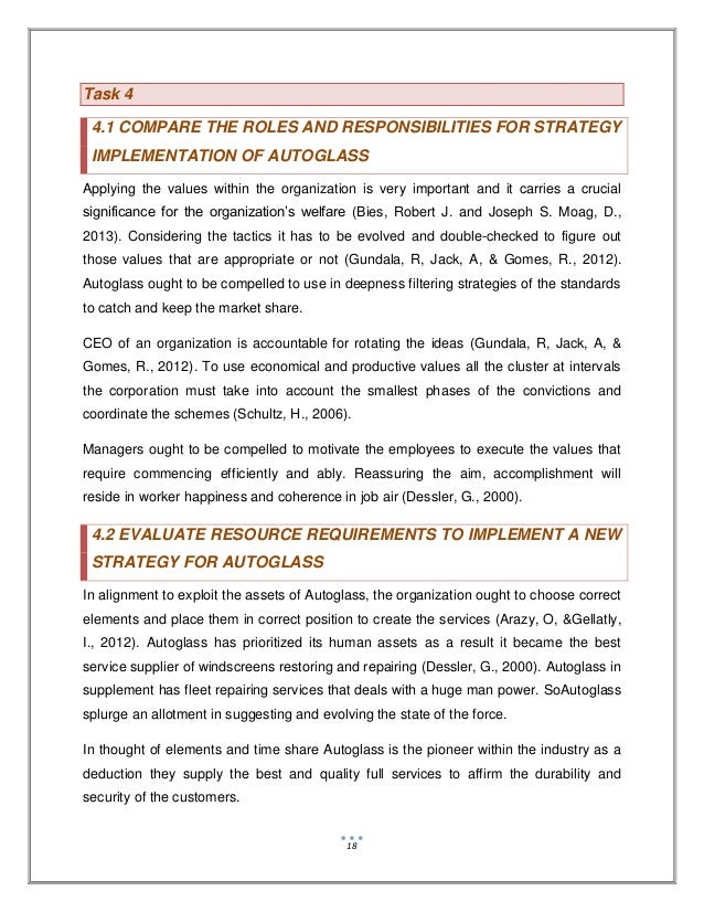 compare the roles and responsibilities for strategy implementation