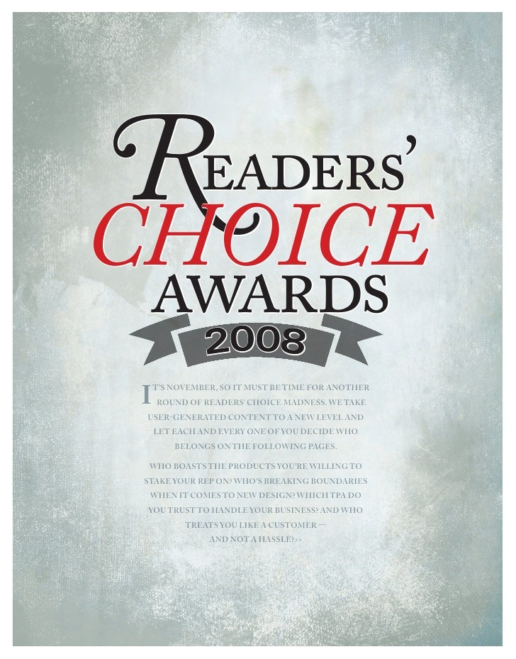 Readers' choice awards     Readers' choice   awards     008       2 I   t's November, so It must be tIme for aNother     r...