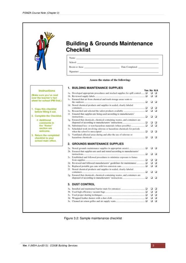 facility preventive maintenance checklist