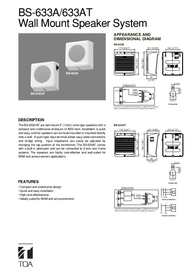 BS-633A/633ATWall Mount Speaker System                                                                        APPEARANCE A...