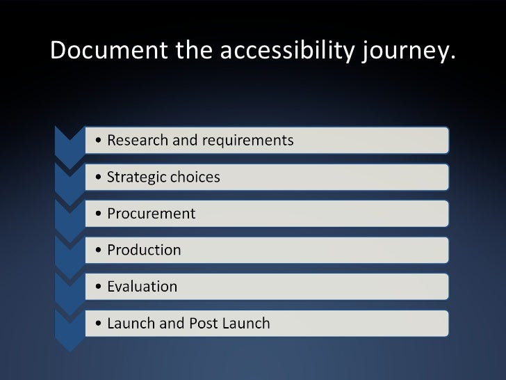 Document the accessibility journey.