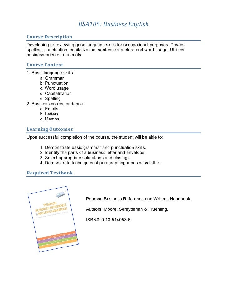 BSA105 syllabus
