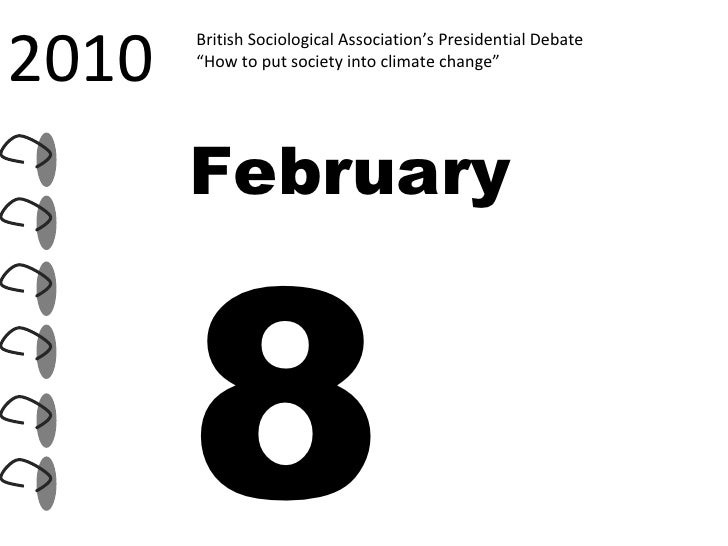 """2010 British Sociological Association's Presidential Debate """" How to put society into climate change""""  February  8"""