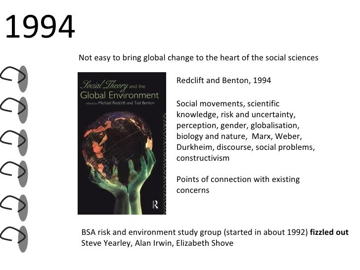 Redclift and Benton, 1994 Social movements, scientific knowledge, risk and uncertainty, perception, gender, globalisation,...