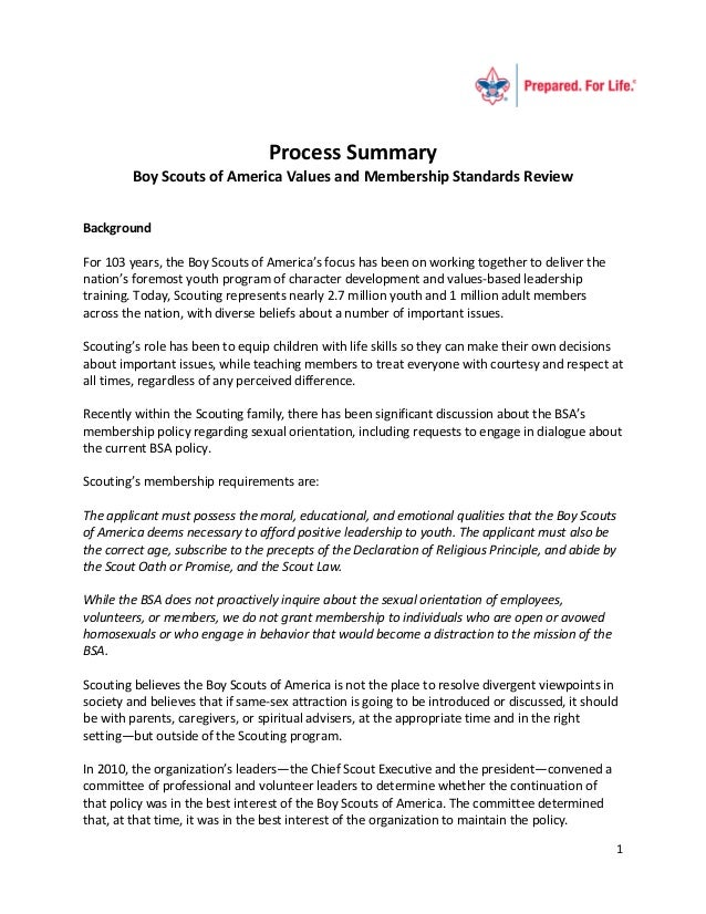 Process Summary         Boy Scouts of America Values and Membership Standards ReviewBackgroundFor 103 years, the Boy Scout...