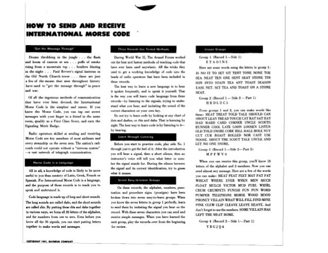 Liner Notes: Learn the International Morse Code (Boy Scouts of America / Raybrun Code Voice Method)