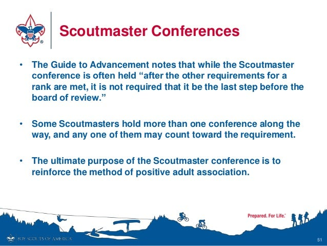 """Scoutmaster Conferences • The Guide to Advancement notes that while the Scoutmaster conference is often held """"after the ot..."""