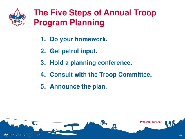 The Five Steps of Annual Troop Program Planning 1. Do your homework. 2. Get patrol input. 3. Hold a planning conference. 4...