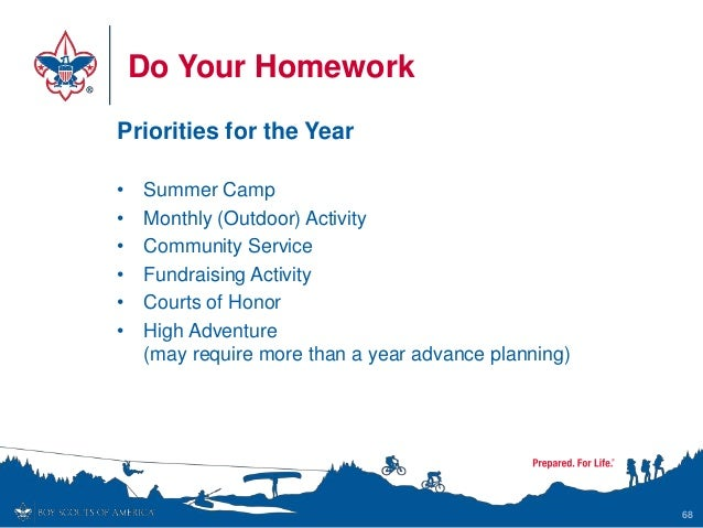 Do Your Homework Priorities for the Year • Summer Camp • Monthly (Outdoor) Activity • Community Service • Fundraising Acti...