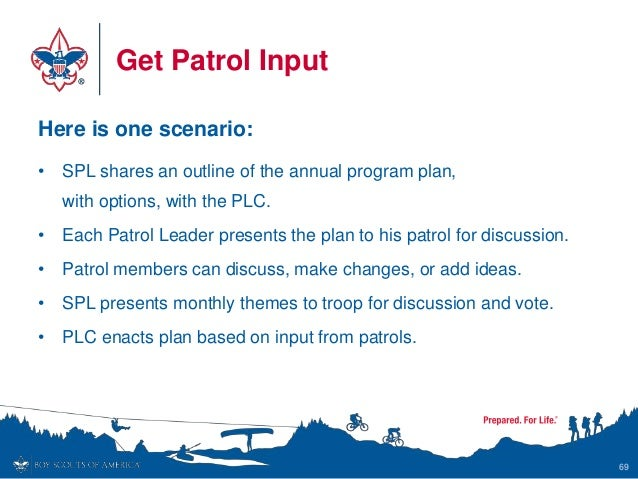 Get Patrol Input Here is one scenario: • SPL shares an outline of the annual program plan, with options, with the PLC. • E...