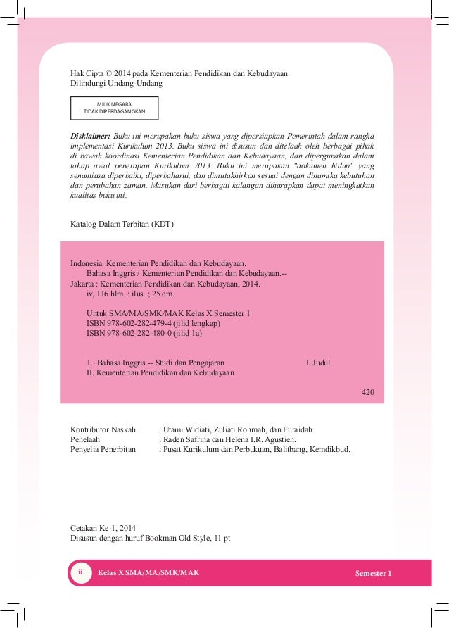 Buku Bahasa Inggris Kelas X (Kurikulum 2013) Kemendikbud