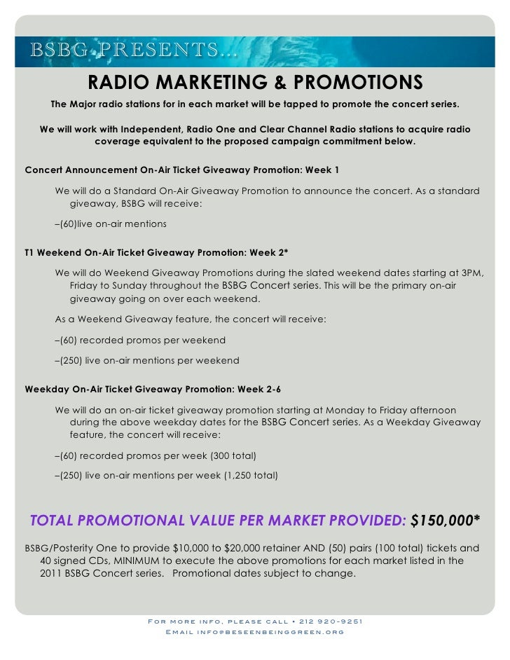 Radio station sponsorship proposal