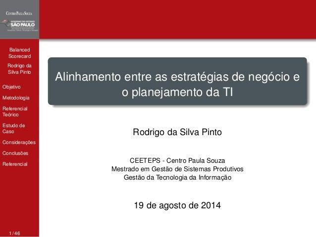 Balanced  Scorecard  Rodrigo da  Silva Pinto  Objetivo  Metodologia  Referencial  Teórico  Estudo de  Caso  Considerações ...