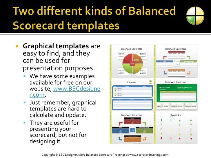 Two different kinds of Balanced Scorecard templates<br />Graphical templates are easy to find, and they can be used for pr...