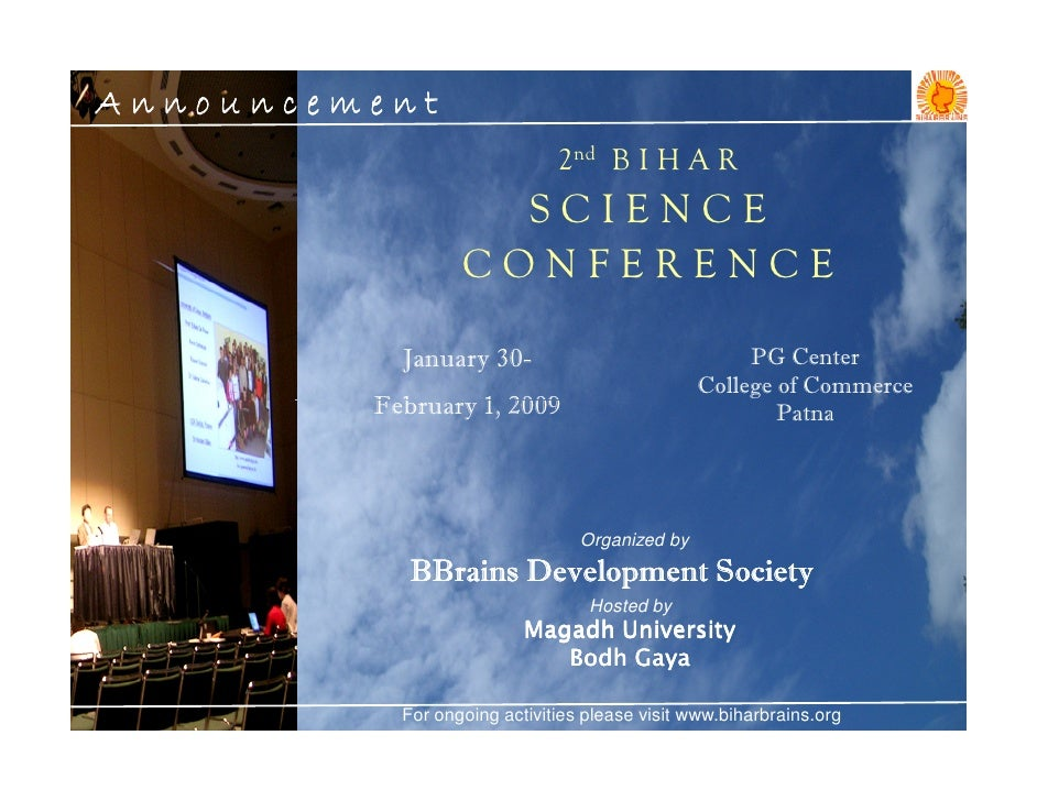 Announcement                               2nd B I H A R                     SCIENCE                   CONFERENCE         ...