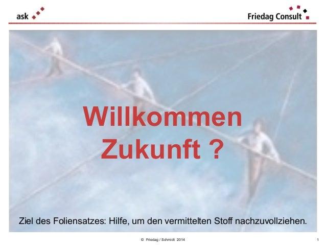 Willkommen Zukunft ? Ziel des Foliensatzes: Hilfe, um den vermittelten Stoff nachzuvollziehen. © Friedag / Schmidt 2014  1