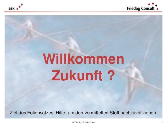 © Friedag / Schmidt 2014 Willkommen Zukunft ? 1 Ziel des Foliensatzes: Hilfe, um den vermittelten Stoff nachzuvollziehen.
