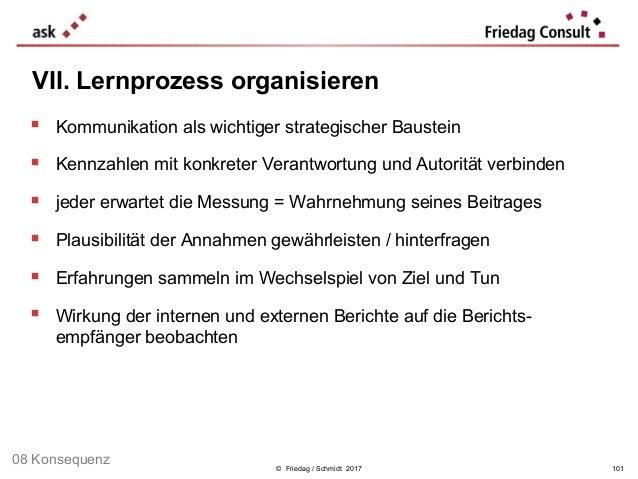 © Friedag / Schmidt 2017  Kommunikation als wichtiger strategischer Baustein  Kennzahlen mit konkreter Verantwortung und...