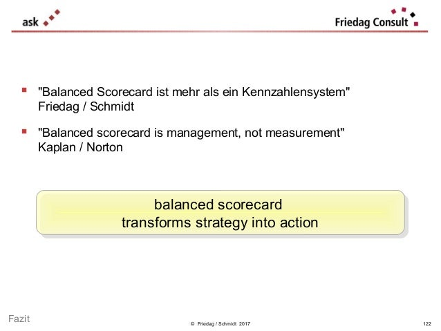 "© Friedag / Schmidt 2017  ""Balanced Scorecard ist mehr als ein Kennzahlensystem"" Friedag / Schmidt  ""Balanced scorecard ..."