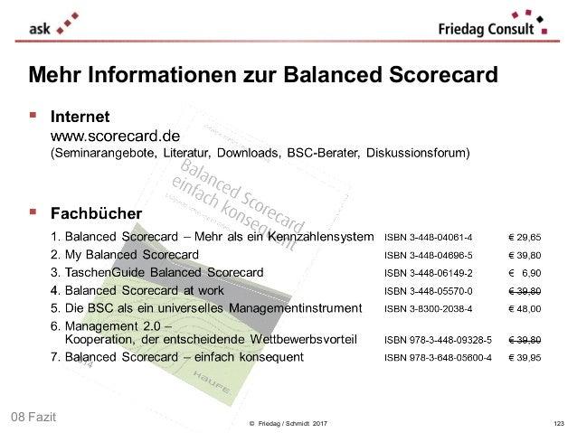 © Friedag / Schmidt 2017 Mehr Informationen zur Balanced Scorecard 08 Fazit 123