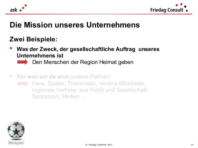 © Friedag / Schmidt 2017 Die Mission unseres Unternehmens Zwei Beispiele:  Was der Zweck, der gesellschaftliche Auftrag u...