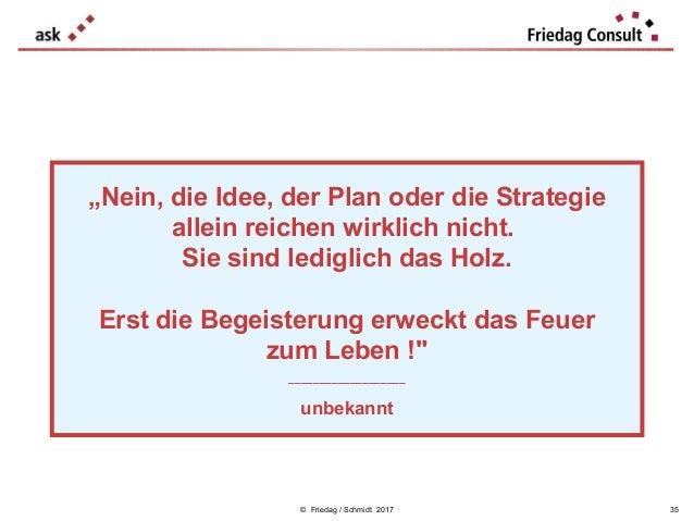 """© Friedag / Schmidt 2017 """"Nein, die Idee, der Plan oder die Strategie allein reichen wirklich nicht. Sie sind lediglich da..."""