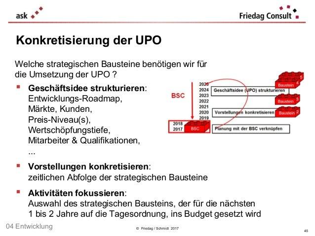 Welche strategischen Bausteine benötigen wir für die Umsetzung der UPO ? © Friedag / Schmidt 2017 Konkretisierung der UPO ...