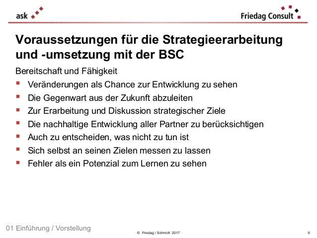 © Friedag / Schmidt 2017 Voraussetzungen für die Strategieerarbeitung und -umsetzung mit der BSC Bereitschaft und Fähigkei...
