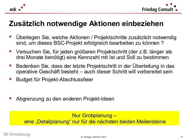 © Friedag / Schmidt 2017  Überlegen Sie, welche Aktionen / Projektschritte zusätzlich notwendig sind, um dieses BSC-Proje...