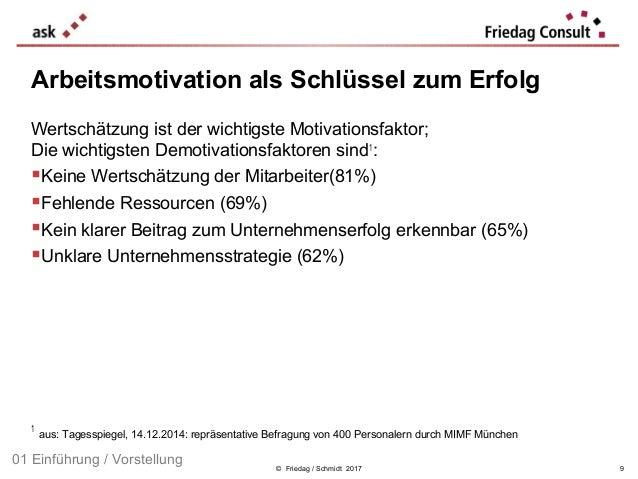 © Friedag / Schmidt 2017 Arbeitsmotivation als Schlüssel zum Erfolg Wertschätzung ist der wichtigste Motivationsfaktor; Di...