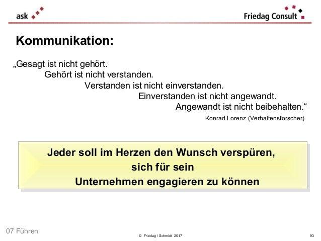 """© Friedag / Schmidt 2017 Kommunikation: """"Gesagt ist nicht gehört. Konrad Lorenz (Verhaltensforscher) Gehört ist nicht vers..."""