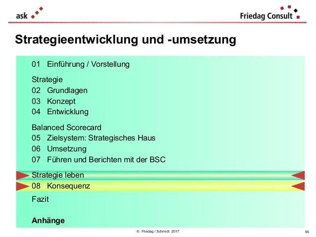 © Friedag / Schmidt 2017 Strategieentwicklung und -umsetzung 01 Einführung / Vorstellung Strategie 02 Grundlagen 03 Konzep...