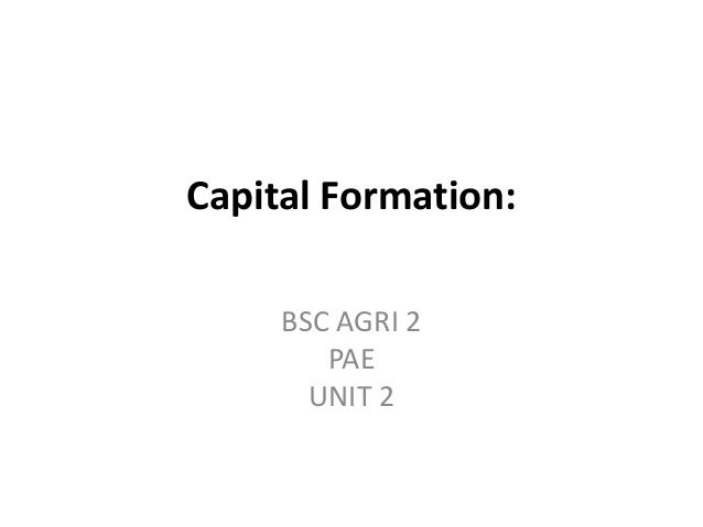 Capital Formation: BSC AGRI 2 PAE UNIT 2