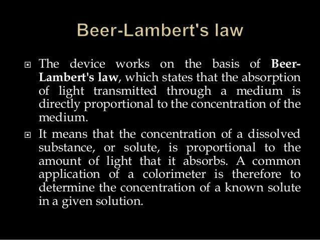 beer s law and colorimetry labpaq What are some specific real-world applications of beer's  by measuring the intensity of x-rays that pass through a person's body, beer's law can be used to .